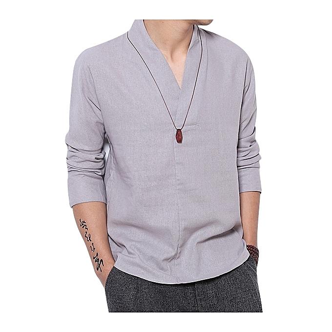 Fashion V-neck Minimalist Vintage Style Loose Comfy Linen Shirts for Men à prix pas cher