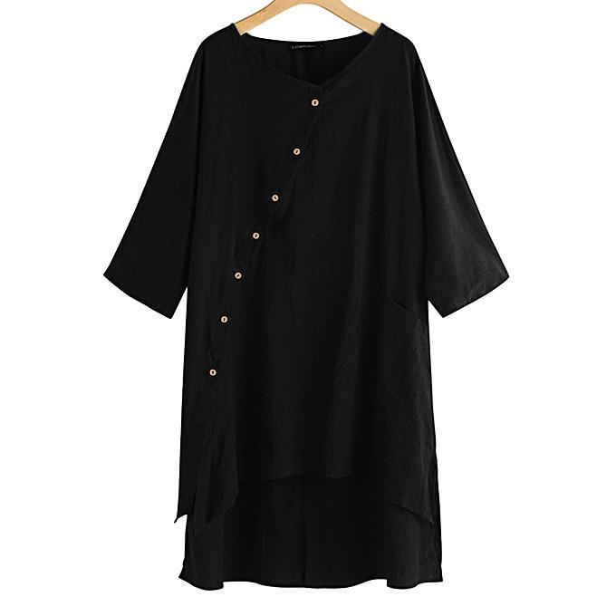 Fashion femmes Fashion Summer Solid Short Sleeve Button Loose Long Linen Dress à prix pas cher