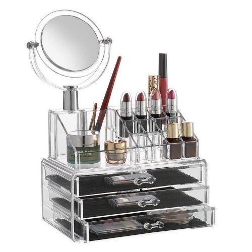 As seen on tv organisateur acrylique de maquillage et bijoux avec 3 tiroirs avec miroir - Organisateur de maquillage ...