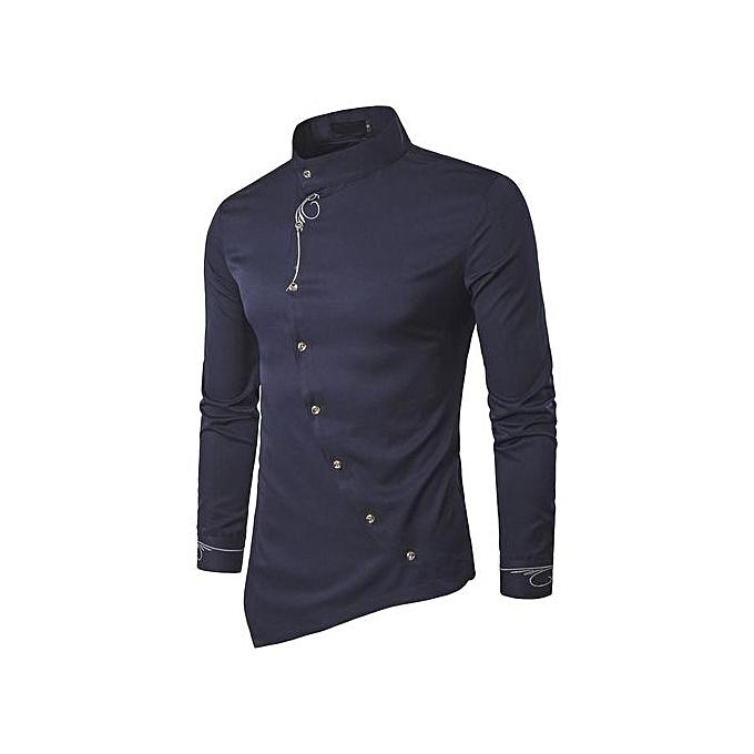 Generic Stylish Embroidery Oblique Button Down Shirts Long Sleeve (Navy bleu) à prix pas cher