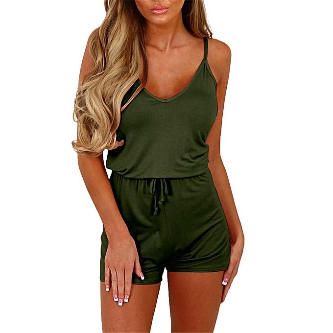 mode Auxo femmes& 039;s été Décontracté Playsuit Rompers Army vert à prix pas cher