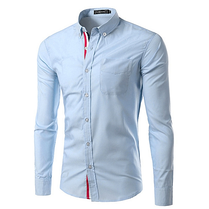 Other Stylish Men's Pure Couleur Workwear Long Sleeve Ribbon Shirt-Light bleu à prix pas cher