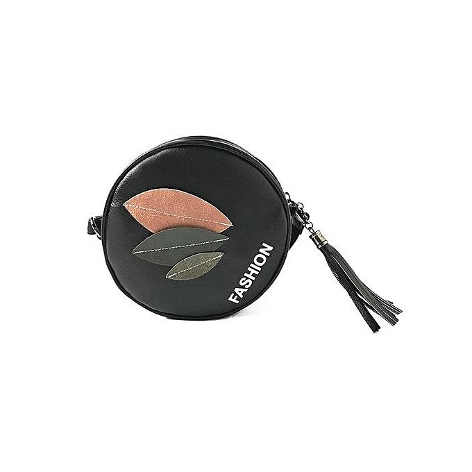 nouveauorldline femmes mode Handsac Zipper Leaf sac Shoulder sac Tote Ladies sacs- noir à prix pas cher