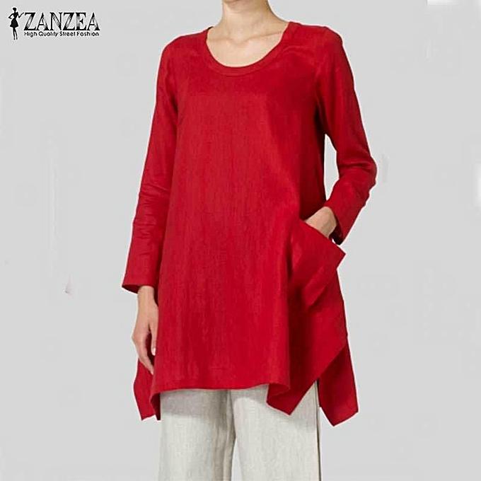 Fashion ZANZEA Plus femmes Long Sleeve Asymmetric Split Loose Stylish Blouse Shirt Tops rouge à prix pas cher