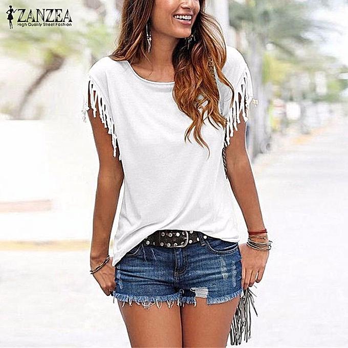 Zanzea ZANZEA bleusas  été femmes chemisiers mode Solid hauts Tees Décontracté Tassel manche courte Shirts OverTailled S-5XL (blanc) à prix pas cher