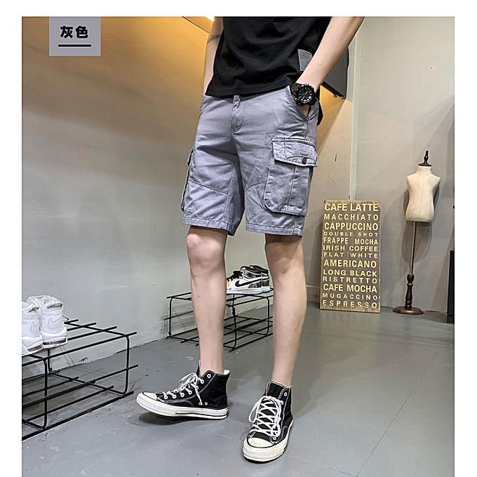 mode Hommes& 039;s courtes tooling cotton 19 été nouveau Korean version of the trend loose sports five points pants tide brand Décontracté pants Hommes-gris à prix pas cher