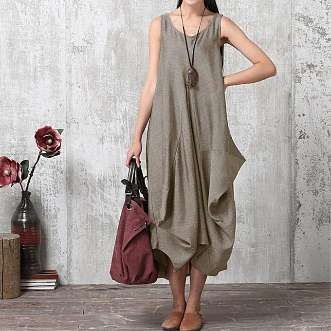 Zanzea femmes Sleeveless V Neck Casual Loose Long Shirt Vest Dress Kaftan à prix pas cher