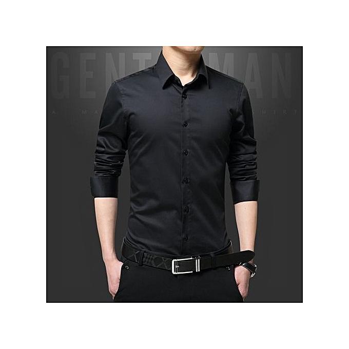 Tauntte Luxury Cotton Slim Fit Office Formal Shirts Hommes Affaires mariage Shirts (noir) à prix pas cher