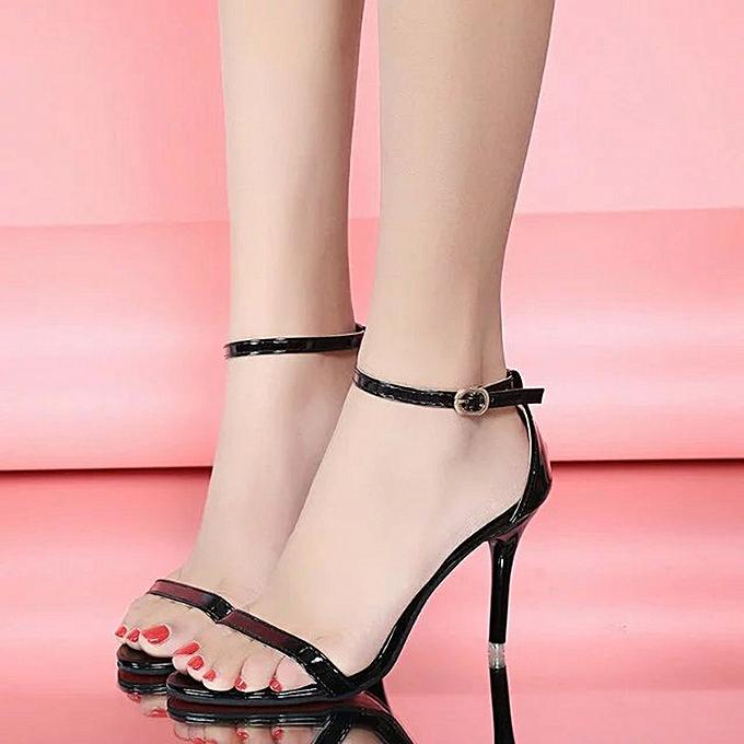 Generic Sedectres Fashion femmes Girl buckle Pointed Toe Pumps–Slip On Comfortable Work High Heel-noir à prix pas cher
