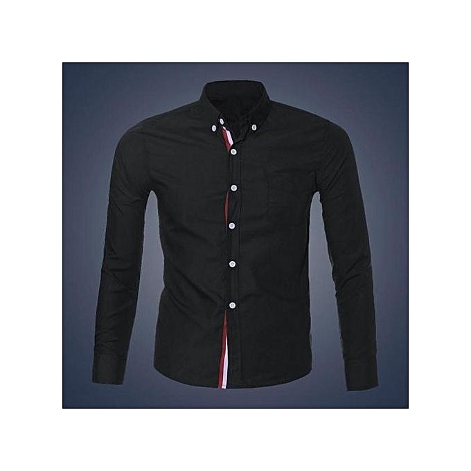 Cuena Fashion Mens Luxury Long Sleeve Casual Slim Fit Stylish Dress Shirts BK XL-noir à prix pas cher