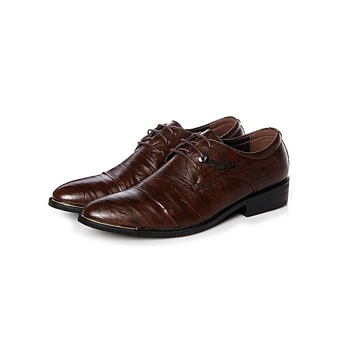 Generic Men Fashion Hot Sell Mens Leather chaussures Men's Dress chaussures British Style Lace Up Pointed Toe Low Top Flats -marron à prix pas cher