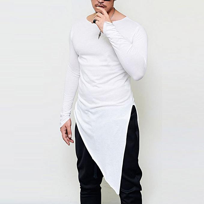 Fashion Men's Autumn Solid Couleur irregular Hem Slim Fit Long Sleeve Tops Blouse T-Shirt  -blanc à prix pas cher
