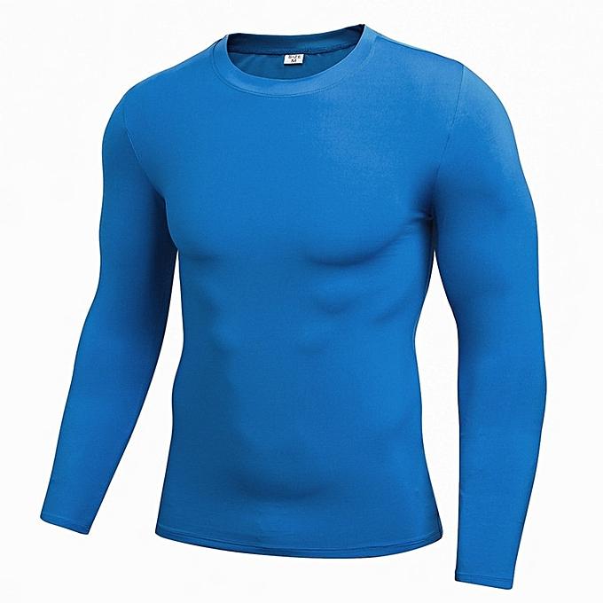 Other Stylish Men's Elastic Tights Fitness T Shirt Quick-Drying Clothes  -bleu à prix pas cher