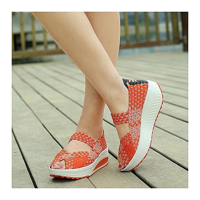 Fashion Knitted Elastic Rocker Sole Breathable Sandals à prix pas cher