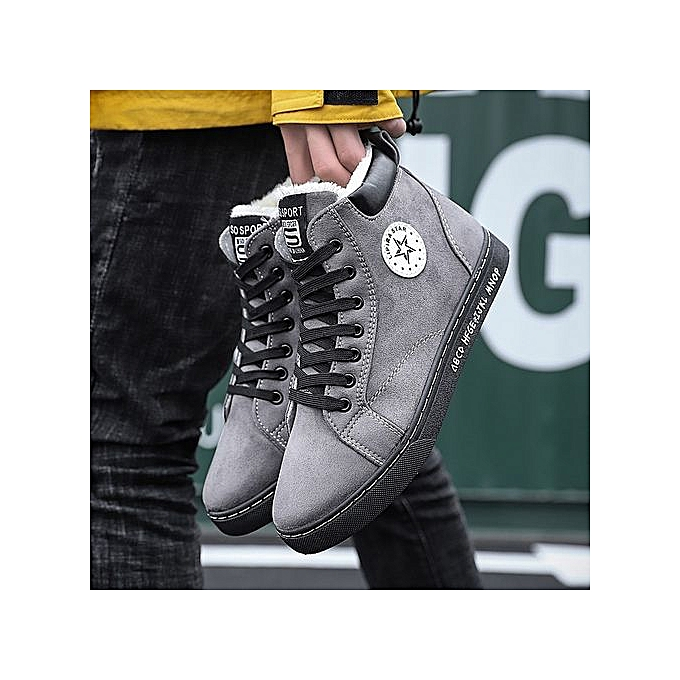 OEM New warm artifact high chaussures male thick hommes chaussures Korean version of the short bottes men plus velvet chaussures-gris à prix pas cher