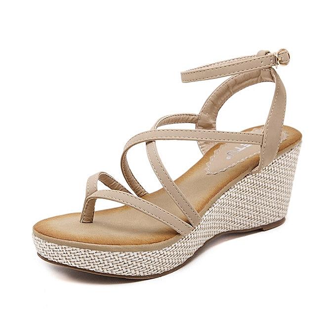 OEM Hot Sale  grand Taille nouveau femmes wedge sandals Rohomme ribbon sandals wohomme chaussures -apricot à prix pas cher