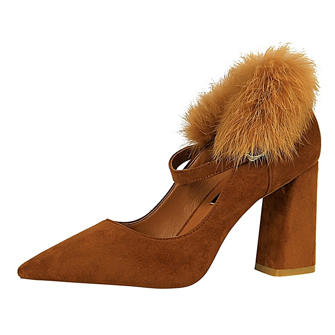 Tauntte 8.5cm femmes High Square Heel Rabbit Hair Buckle Strap Pumps (marron) à prix pas cher    Jumia Maroc