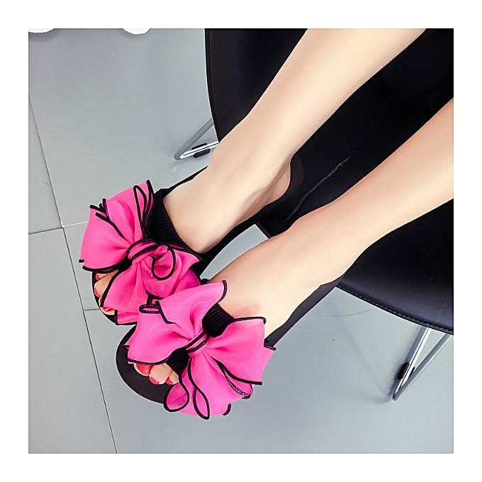 Fashion femmes Summer Beach Flower Flat Indoor Outdoor Slippers Flip Flops Sandals chaussures rouge à prix pas cher