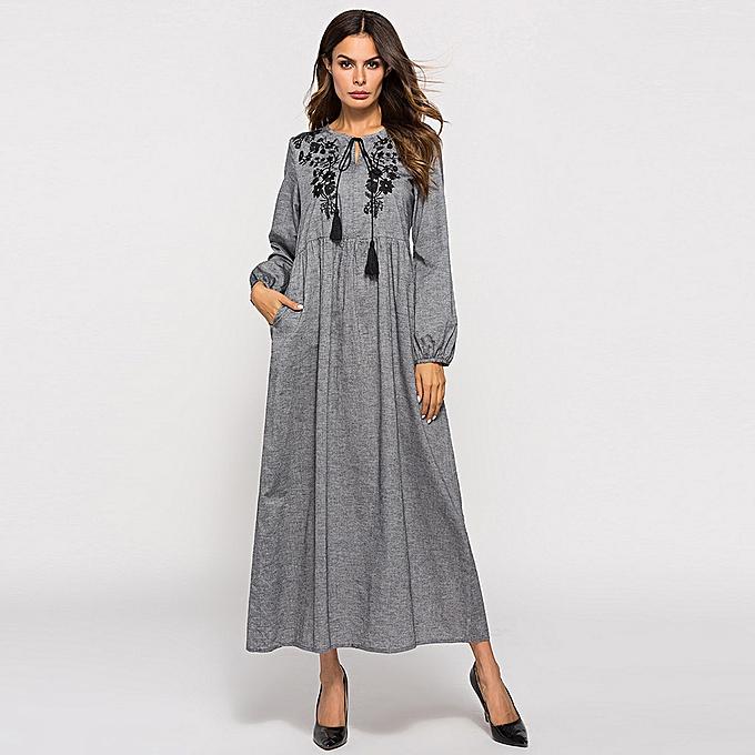 Fashion whiskyky store femmes Dubai Muslim LongSleeve Embroiderouge Arab Dress Islam Abaya Jilbab Dress à prix pas cher