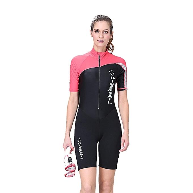 UNIVERSAL femmes 1.5mm Neoprene Snorkeling Wetsuit Scuba Sunscreen Short Sleeve Short Diving Suit, Taille  L à prix pas cher
