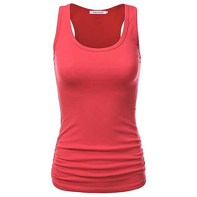 Fashion TCE Wohommes Summer Vest Casual Blouse Solid Couleur Tank Round Neckline Shirt Tops à prix pas cher
