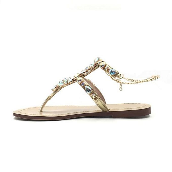 Fashion Wo  Fashion Summer Rhinestones Thong Gladiator Gladiator Gladiator Clip Toe Sandals Flats Beach Slippers à prix pas cher  | Jumia Maroc f34b3f