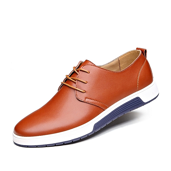 Fashion Men Leather Flat Outdoor Casual Lace Up Soft Round Toe Oxfords baskets chaussures à prix pas cher