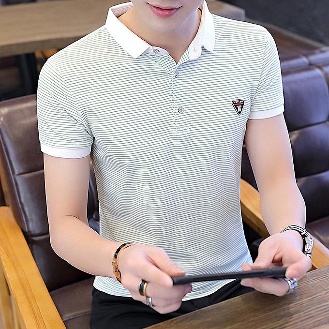 mode 2019 nouveau Hommes& 039;s POLO shirt Hommes& 039;s courte-sleeved lapel t-shirt Korean version of the trend shirt Décontracté solid Couleur half sleeve été à prix pas cher