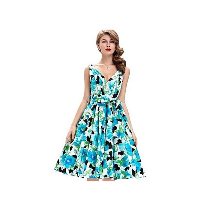 nouveauorldline femmes été Style Floral Print Maxi Sleeveless Robees With Belt à prix pas cher