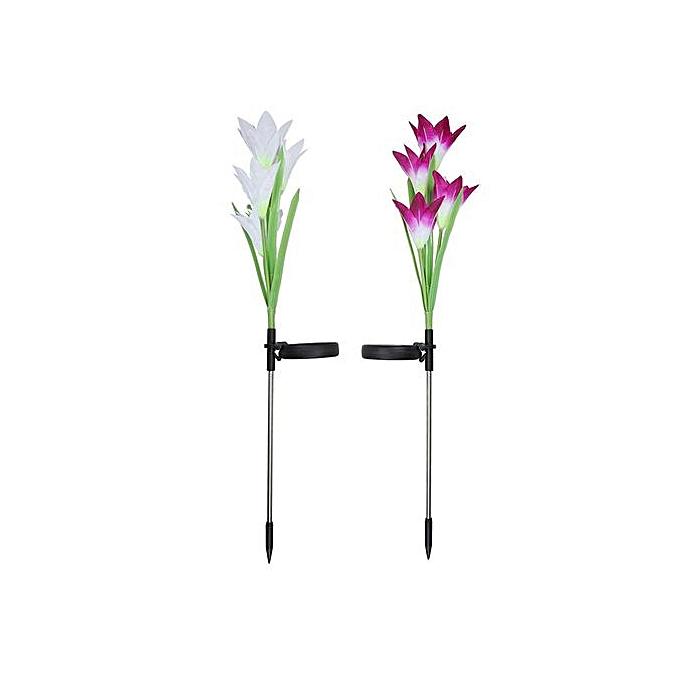 Generic Haojks- 2 Pcs Lily Flower Solar Powerouge Garden Stake Light Multi-Couleur Change LED Light à prix pas cher
