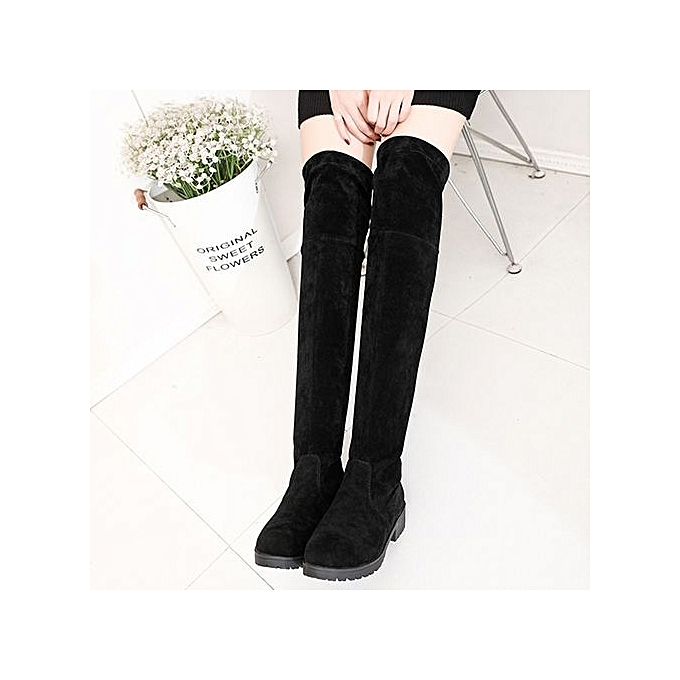 Fashion WoHommes  Autumn Winter Fashion Suede Over Knee Boots High Waterproof Block Thick Middle High Boots Heel Shoes-BLACK à prix pas cher  | Jumia Maroc 81abc7