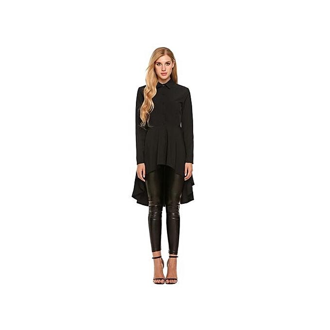 Sunshine femmes Décontracté Shirt Collar manche longue Button Solid SwalFaibletail Hem Shirt-noir à prix pas cher