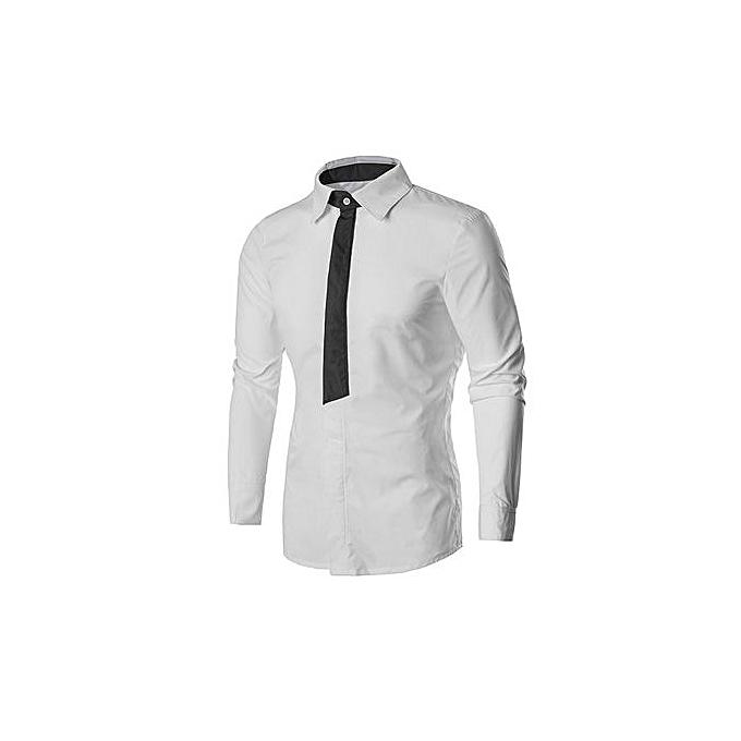 AFankara Men Shirt Long Sleeve Dress Shirt Slim Fit Camisa Masculina à prix pas cher