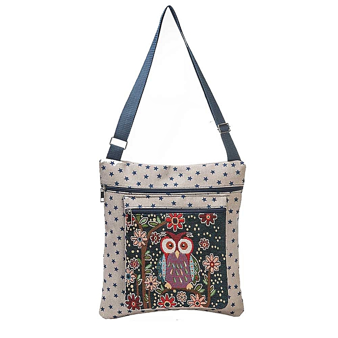 Siketu Owl Printed femmes Casual Tote Daily Use Shopping Bag Single Shoulder Handbag BG-Beige à prix pas cher