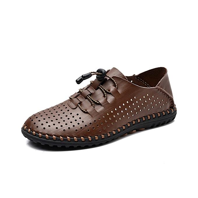 Fashion Men Soft Leather Breathable Oxfords Lace Up Outdoor Athletic chaussures à prix pas cher
