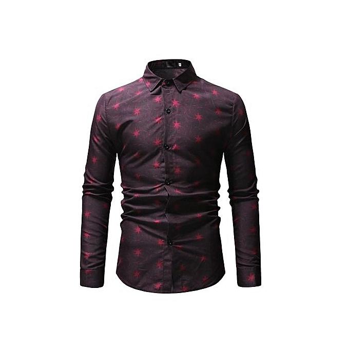 Other Hommes manche longue Slim Fit Shirt Print Robe Shirts-rouge à prix pas cher