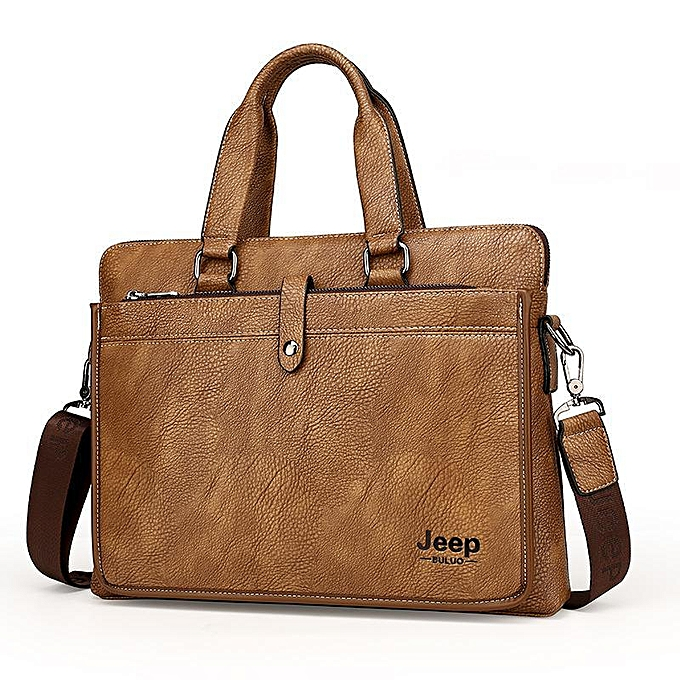 Other European And American Brand Fashion Computer Handbags Soft Split Leather Briefcase Leather Laptop Bag(Khaki) à prix pas cher