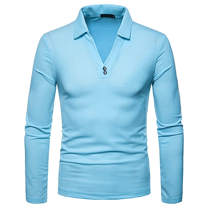Fashion Men's Casual Autumn Winter Long Sleeve Solid Turn-down Collar Polo Shirt Top -bleu à prix pas cher