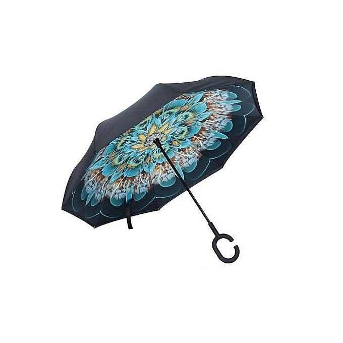 mode US Big Double Layer Upside Down Inverted Reverse Umbrella C-Handle Windproof nouveau à prix pas cher