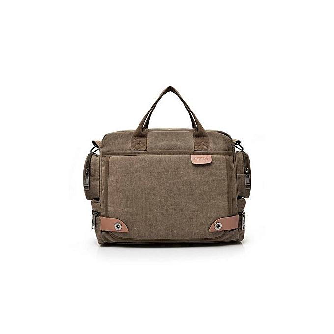 Other 2019 New Men's Canvas Duffle Vintage Messenger Bag Business Handbags Casual Travel Laptop Shoulder Bag Men Large Travel Bags(marron) à prix pas cher