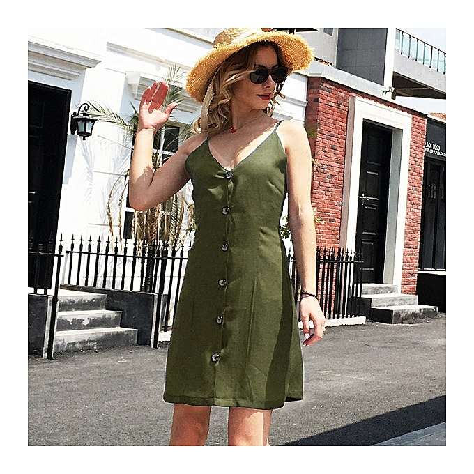 OEM New arrivel New arrivel Solid Couleur Strap V-neck Back Strap Single-Breasted Dress-army vert à prix pas cher