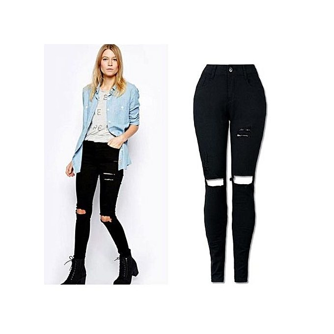 Fashion Xiuxingzi_femmes Cool Ripped Knee Cut Skinny Long Jeans Pants Slim Pencil Trousers M à prix pas cher