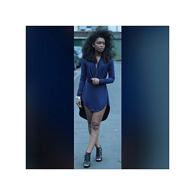 Generic New Stuffsexy Club femmes Dress Long Sleeve Dress Party Evening Elegant Deep V-neck noir Bodycon Dresses -bleu à prix pas cher