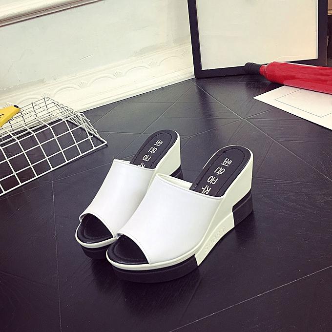 Generic Tcetoctre Wohommes Summer Sandals chaussures Peep-toe chaussures Roman Sandals Ladies Flip Flops-blanc à prix pas cher