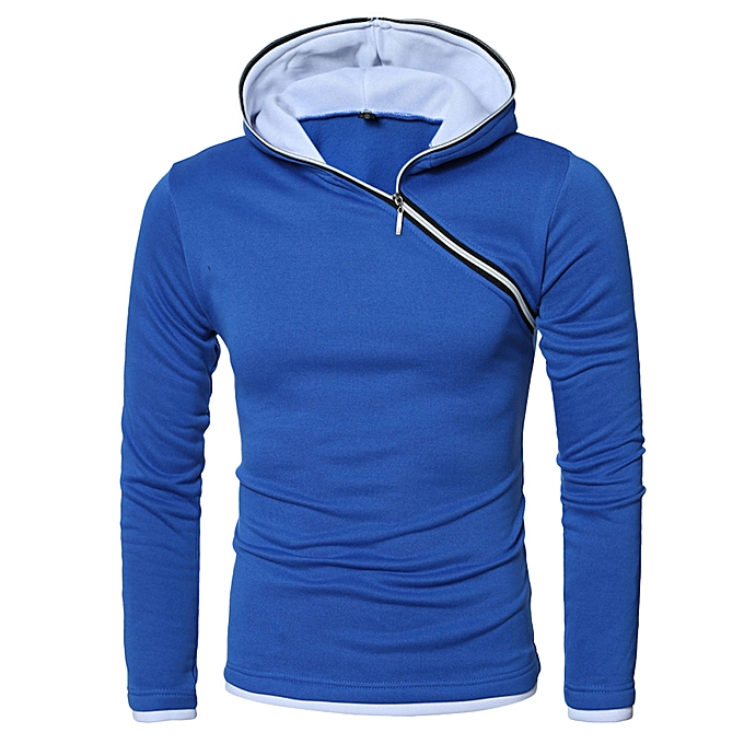 mode Hommes& 039;s Autumn Winter Décontracté hauts Long-sleeved Zipper T-shirt Solid encapuchonné chemisier -bleu à prix pas cher