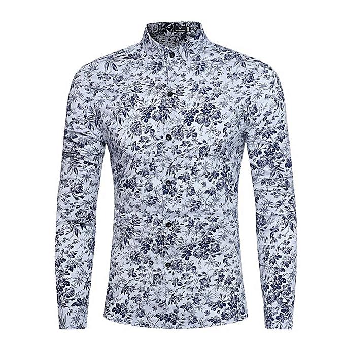 mode jiuhap store Personality Hommes& 039;s été Décontracté Slim manche longue Printed Shirt Top chemisier à prix pas cher