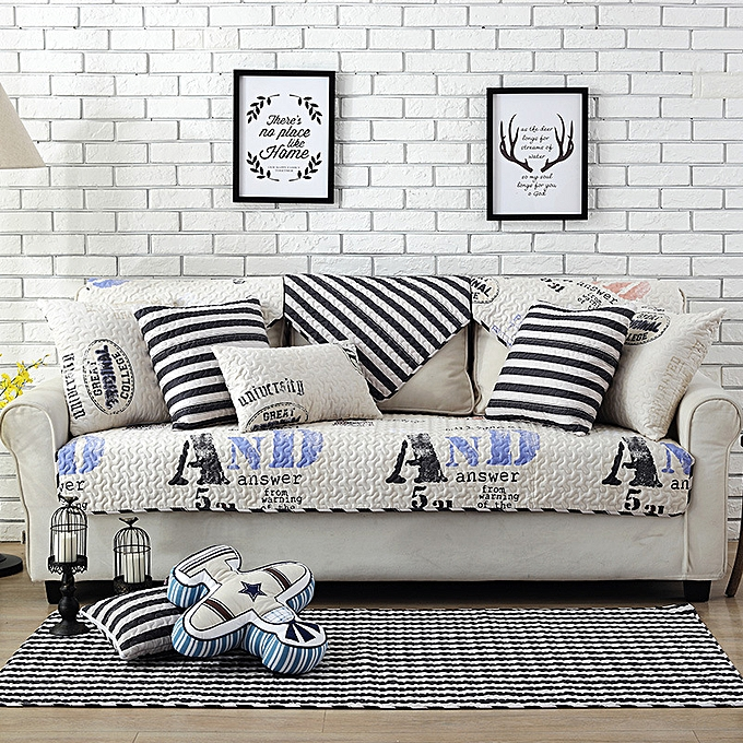UNIVERSAL Nordic Thickened Magical Seat Cushion Corner Letter or Stripe Fabric Double Towel  70 x 70cm à prix pas cher