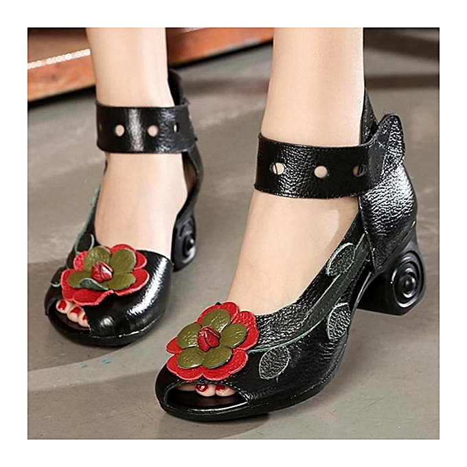 Fashion SOCOFY Fashion WoHommes  Flower Retro Genuine Leather Leather Genuine Handmade Heeled Sandals-EU à prix pas cher  | Jumia Maroc 7a97e6