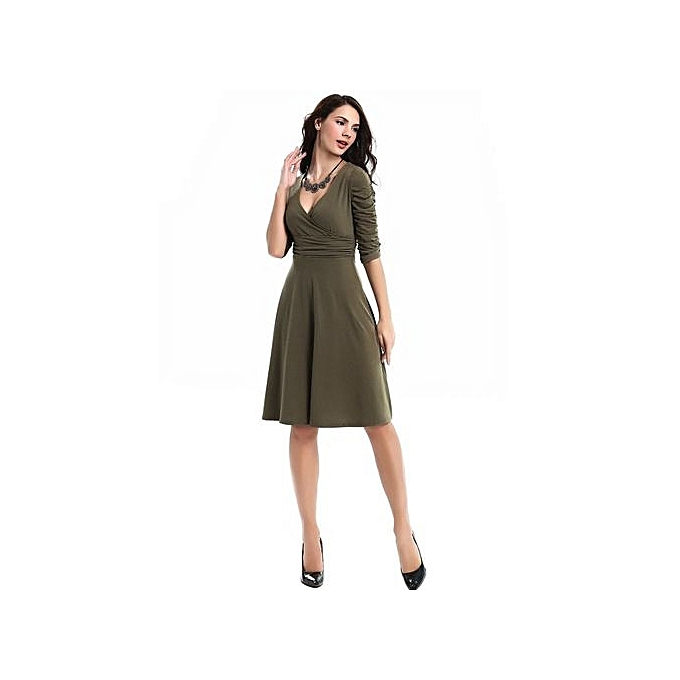 Generic femmes mode Deep V-neck High Waist Half Sleeve Robe (vert) à prix pas cher