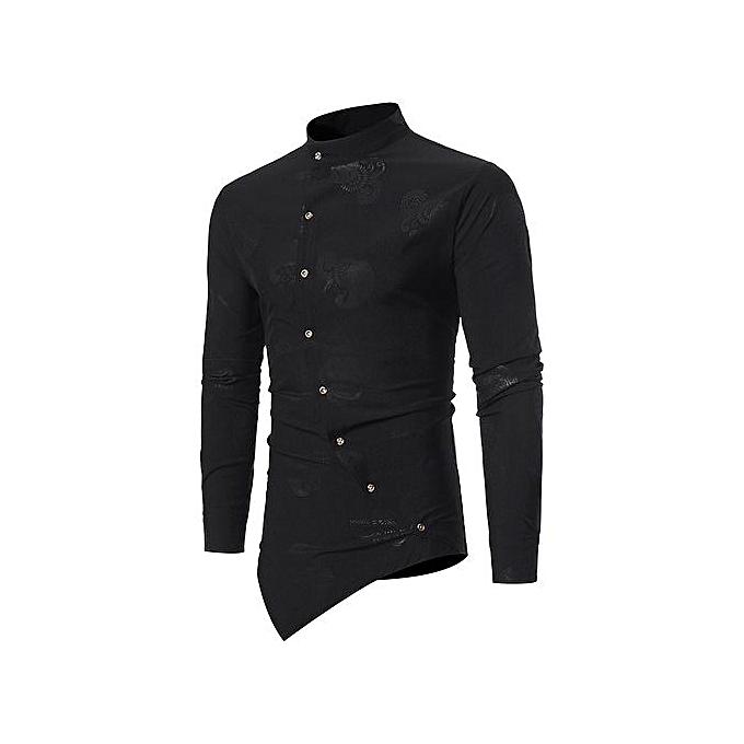 GeneAfrica Mandarin Collar Asymmetrical Button Up Paisley Shirt à prix pas cher